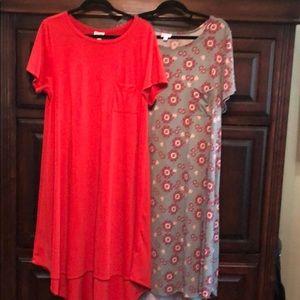 2 Lularoe Carly dresses.  Size 2XL